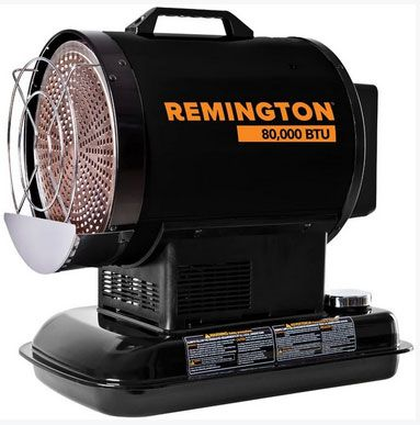 Remington REM-80-OFR-B Forced Air Radiant Kerosene Heater, 62 Watts, 120 Volts