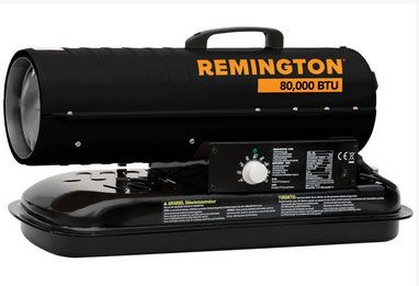 Remington REM-80T-KFA-B Forced Air Radiant Kerosene Heater, 62 Watts, 120 Volts