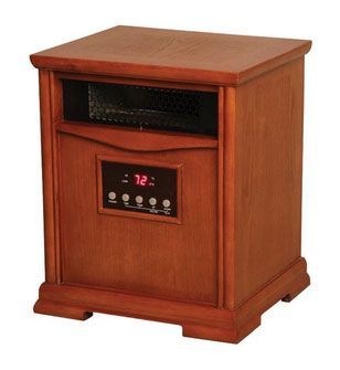 Lifesmart LS-1500-6 HOM Infrared Quartz Heater, Oak Cabinet