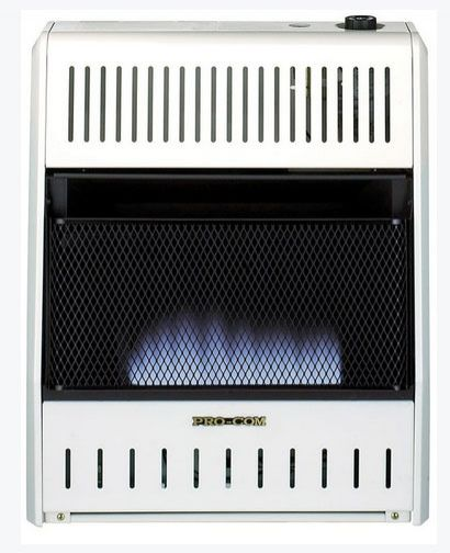Pro-Com MG20TBF Dual Fuel Blue Flame Wall Heater, 20000 BTU's, White